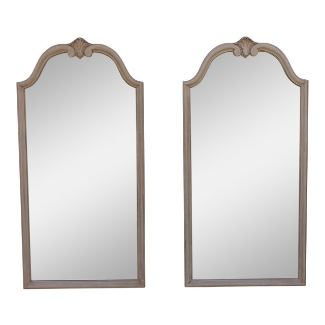 Traditional Off White Carved Wall Mirrors - A Pair - Image 1 of 9