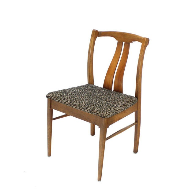 Six Mid-Century Modern Walnut Dining Chairs New Upholstery For Sale In New York - Image 6 of 10