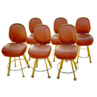 Orange Vinyl Upholstered Iron Framed Bar Stools - Set of 6 For Sale