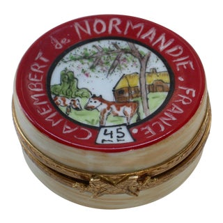 Limoges French Mid Century Cheese Wheel Box For Sale