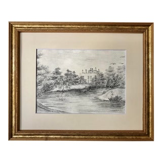 Antique Original Drawing of an English Manor House C. 1860 For Sale