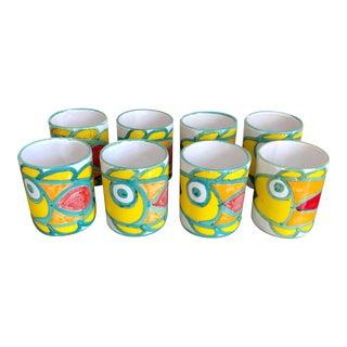 Giovanni DeSimone Italian Pottery Fish Cups- Set of 8 For Sale