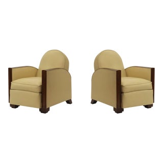 Attributed to Jacques Adnet Pair of Art Deco Comfy Club Chairs For Sale