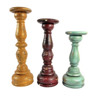 Colorful Pillar Candle Holders - Set of 3 For Sale