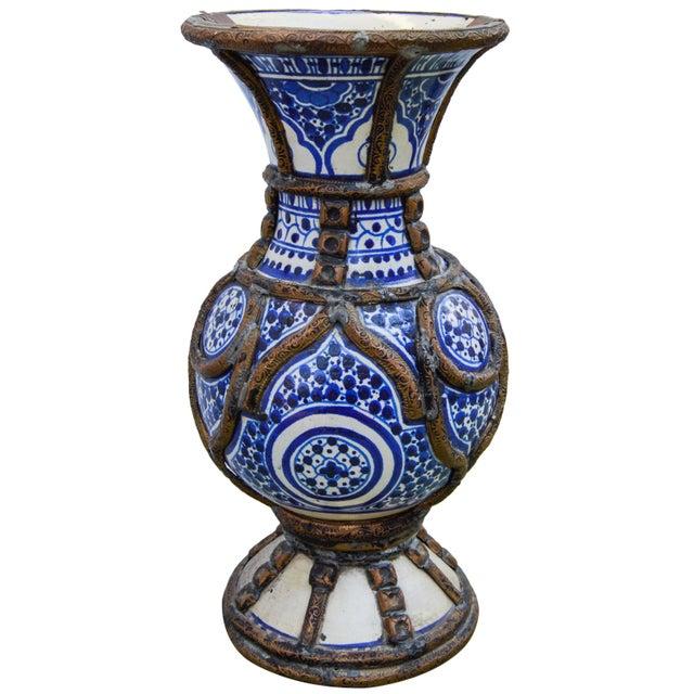 Blue Ceramic Vase W/ Fine Brass Filigree For Sale In New York - Image 6 of 10