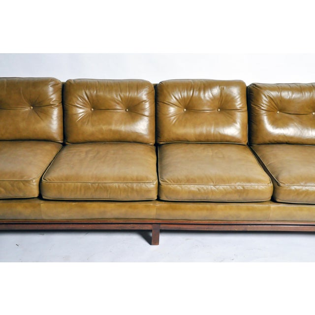 Mid-Century Modern Green Leather Sofa With Hardwood Base by Edward Wormley For Sale In Chicago - Image 6 of 11