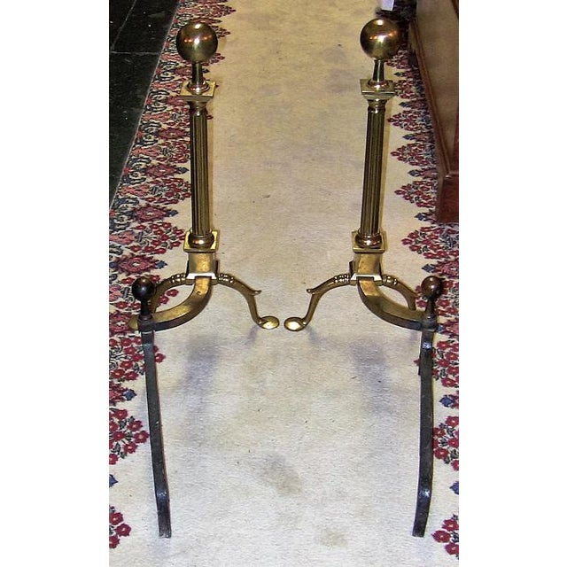 19c Philadelphia Brass Andirons With Roman Columns and Ball Finials- a Pair For Sale In Dallas - Image 6 of 9