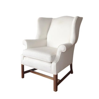 Chippendale White Wing Chair For Sale