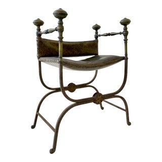 Vintage Brass & Iron Savonarola Chair For Sale