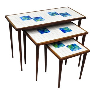 Danish Blue Green Tiles & Teak Nesting Tile Top Side Tables - Set of 3 For Sale