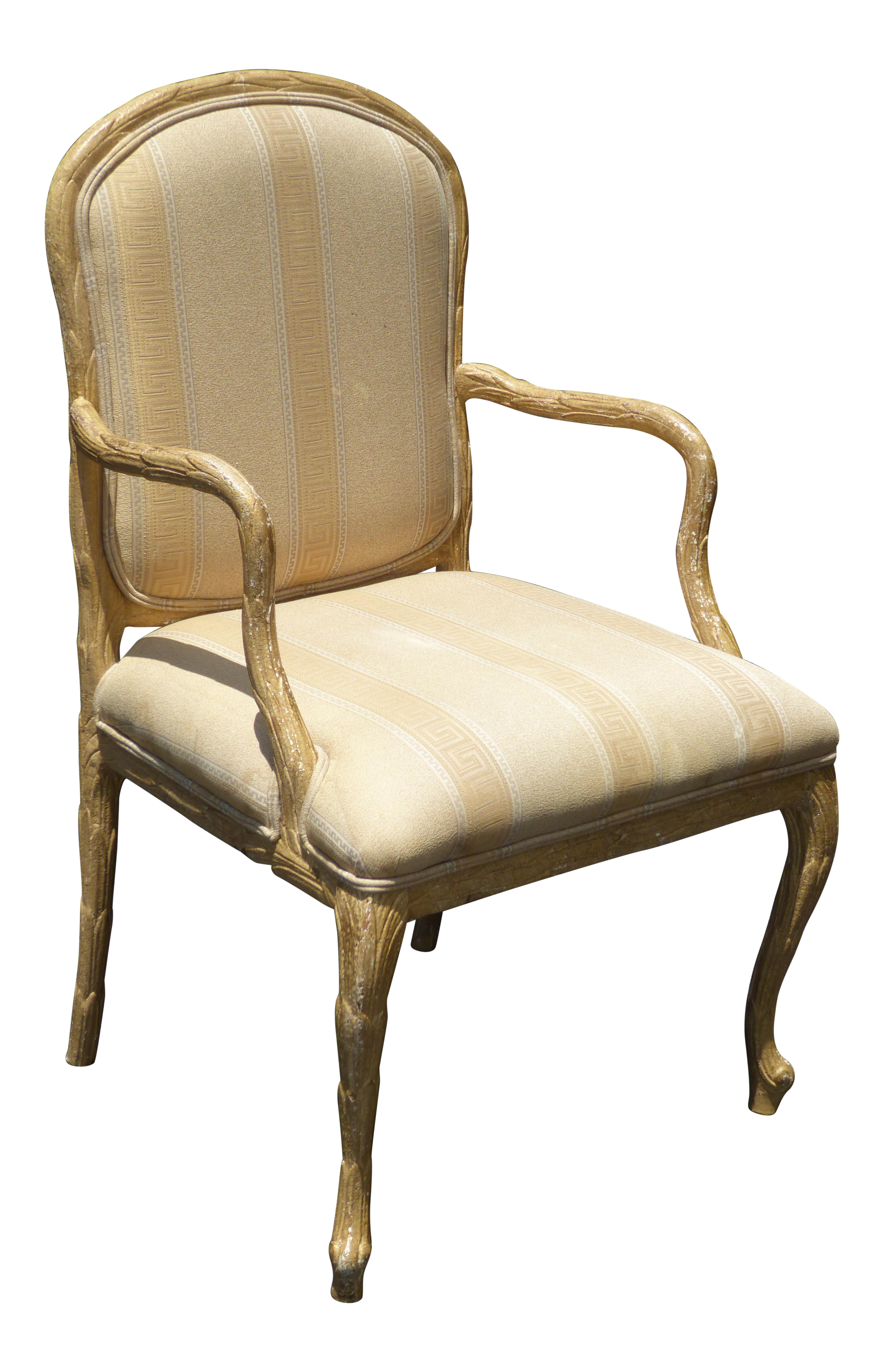 Vintage French Country Off White Accent Chair W Crackle Finish