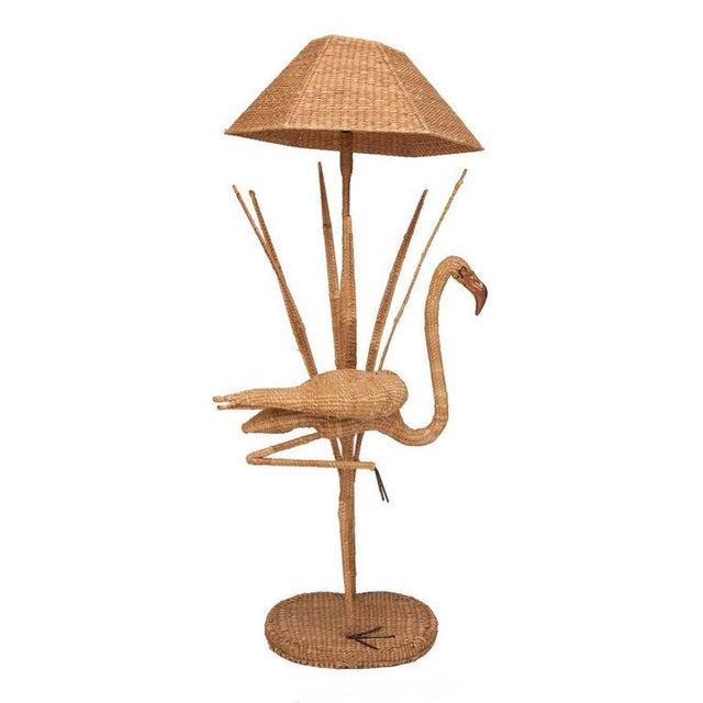 Mid-Century Modern Mario Lopez Torres Flamingo Wicker Floor Lamp For Sale - Image 3 of 3