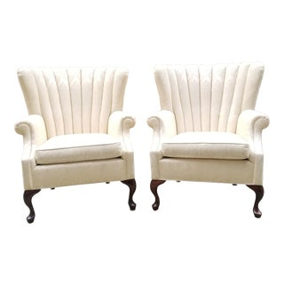 1960s Vintage Scalloped Wingback Chairs- a Pair For Sale