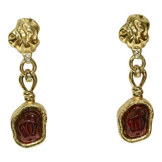 1980s Givenchy Gripoix Gold Plated Earrings For Sale