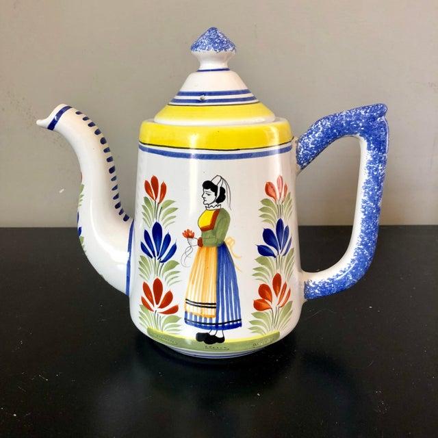 Ceramic Vintage Henriot Quimper Coffee Pot For Sale - Image 7 of 7