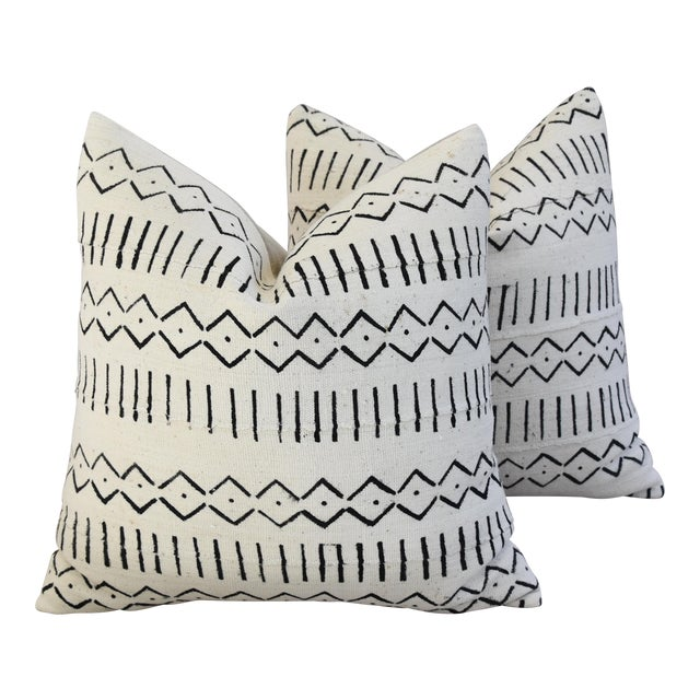 Boho-Chic Mali Mud Cloth Tribal Design Pattern Pillows - A Pair For Sale