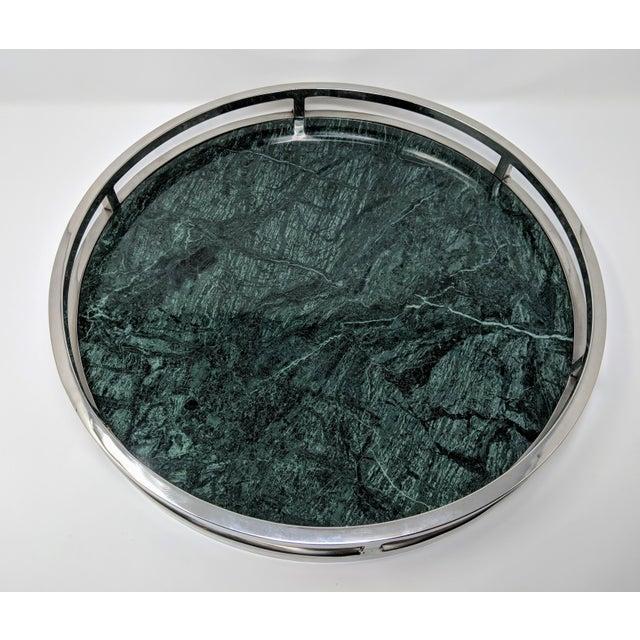 Jonathan Adler Jonathan Adler Inspired Green Marble and Chrome Serving Tray For Sale - Image 4 of 10