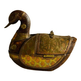 Great Hand Carved Wood and Brass Duck Shaped Box For Sale