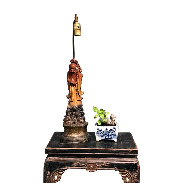 19th Century Chinese Soapstone God of Longevity Mounted as Lamp For Sale - Image 12 of 12