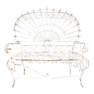 1960s Salterini-Style Iron Peacock Bench For Sale