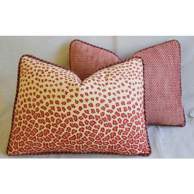 "Colefax & Fowler Leopard Print & Chenille Feather/Down Pillows 22"" X 16"" - Pair For Sale - Image 12 of 13"