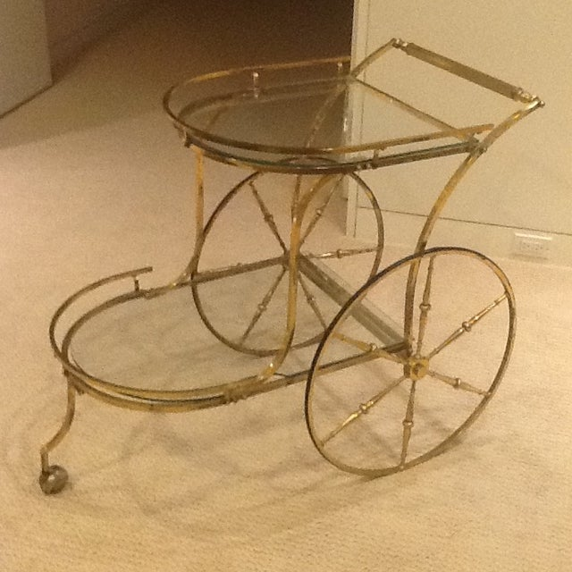 Vintage Mid Century Glass and Brass Bar Cart For Sale In Chicago - Image 6 of 7