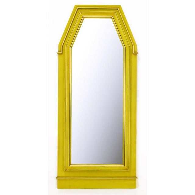 Metal Empire Style Console and Mirror in Glazed Yellow Lacquer For Sale - Image 7 of 10