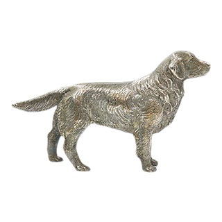 Vintage Heavy Silver-Plate Golden Retriever For Sale