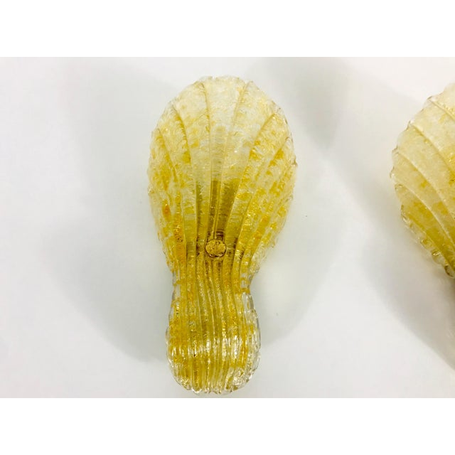 Mid-Century Modern 1960s Mid-Century Modern Shell Shaped Murano Glass Wall Lamps by Fischer Leuchten, Germany- a Pair For Sale - Image 3 of 12
