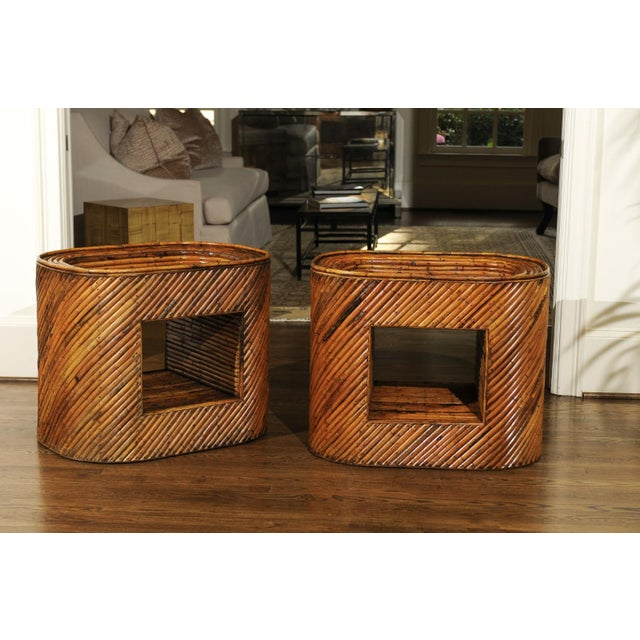 Mid-Century Modern Exceptional Restored Pair of Bamboo Display End Tables, circa 1975 For Sale - Image 3 of 13