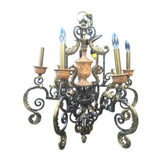 Maitland- Smith Brass Iron Chandelier With Acorns For Sale