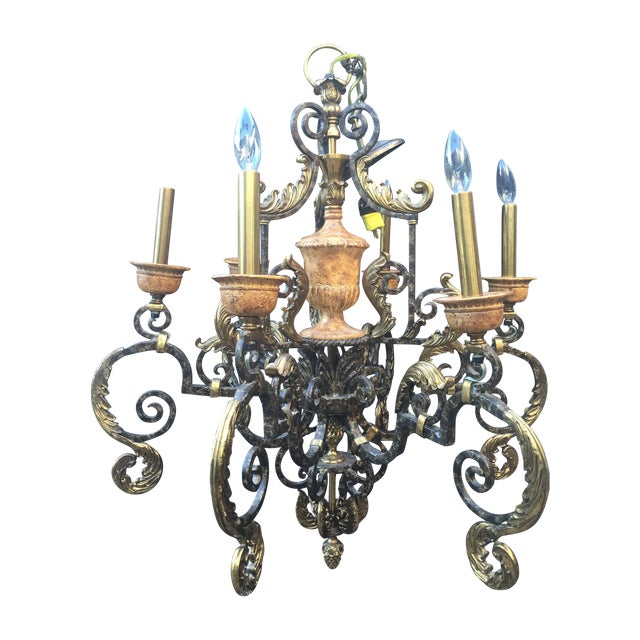 Maitland Smith Brass Iron Chandelier With Acorns For