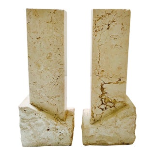 Pair of Vintage Chiseled Marble Architectural Candle Holders For Sale