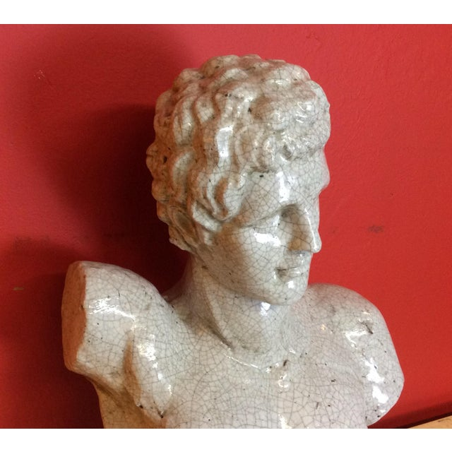 1960s 1960s Vintage Venetian Roman Emperor Glazed Terra Cotta Bust For Sale - Image 5 of 8