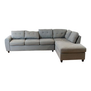 Gray Upholstered Sectional Sofa For Sale