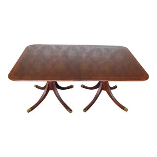 Baker Furniture Historic Charleston Banded Mahogany Pedestal Dining Room Table For Sale