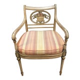 Image of Antique Regency Style Arm Chair With Custom Silk Cushion For Sale