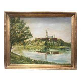 Antique Church and Landscape Painting For Sale