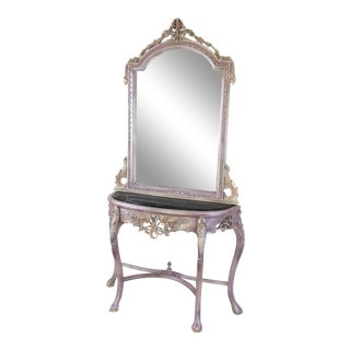 Louis XV Beech Wood Console Table & Mirror, French, Handmade, Antique Vintage Furniture Reproduction , Victorian For Sale