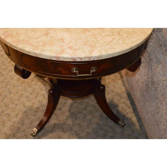 Mahogany Round Marble Top Table - Image 4 of 11