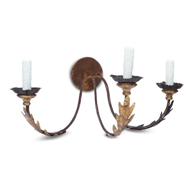 Pair of Large Gilt-Iron Sconces For Sale - Image 10 of 13