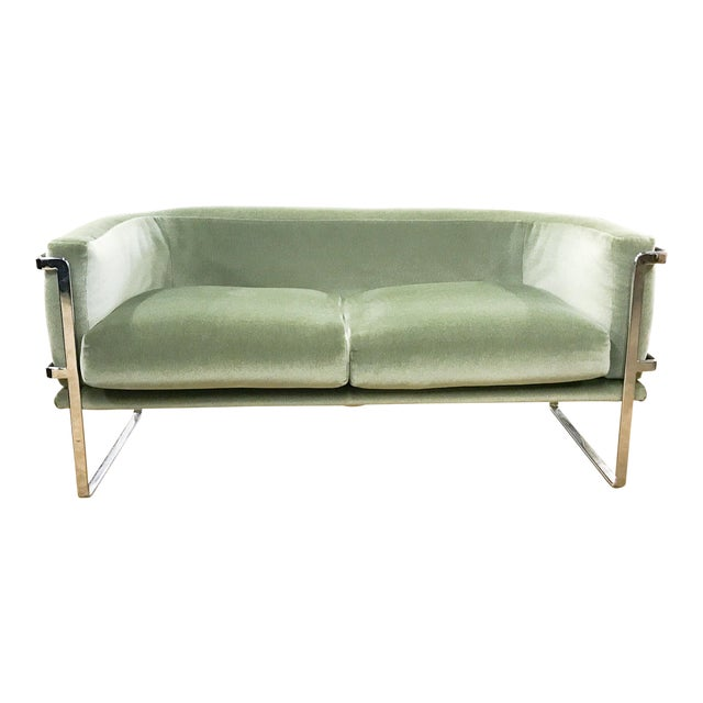 Vintage Chrome And Mohair Sofa Loveseat Image 1 Of 7