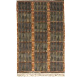 """Vintage Swedish Flat Weave Rug - 4'10"""" X 7'4"""" For Sale"""