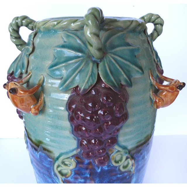 Glazed Majolica Pottery Grapes & Frogs Motif Vase For Sale - Image 5 of 9