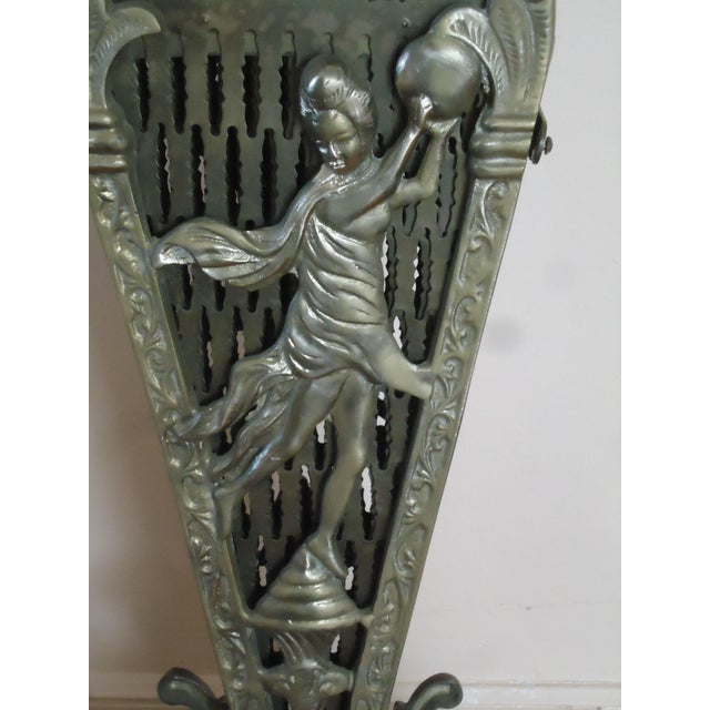 Art Deco 20th Century Art Deco Brass Peacock Fireplace Screen For Sale - Image 3 of 9