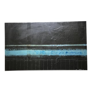 Untitled Painting in Black & Blue For Sale