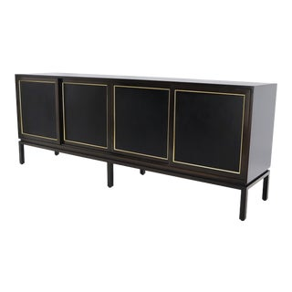 Harvey Probber Espresso Mahogany Long Credenza 4 Sliding Doors Fitted Interior For Sale