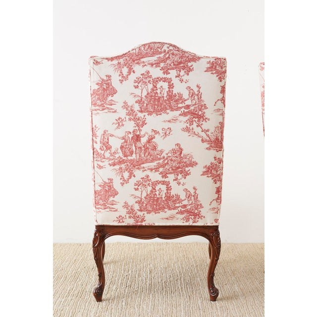 Pair of French Provincial Style Walnut Toile Fauteuil Armchairs For Sale - Image 12 of 13