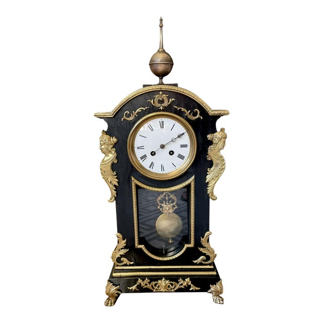 Antique Mid 19th Century French Mantel Clock With Case For Sale