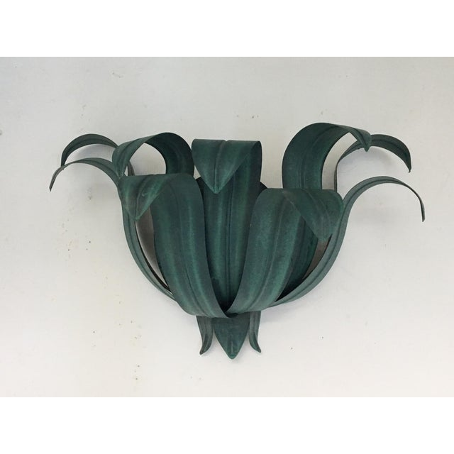 Art Deco Tole Palm Tree Leaf Wall Sconces - a Pair - Image 3 of 6